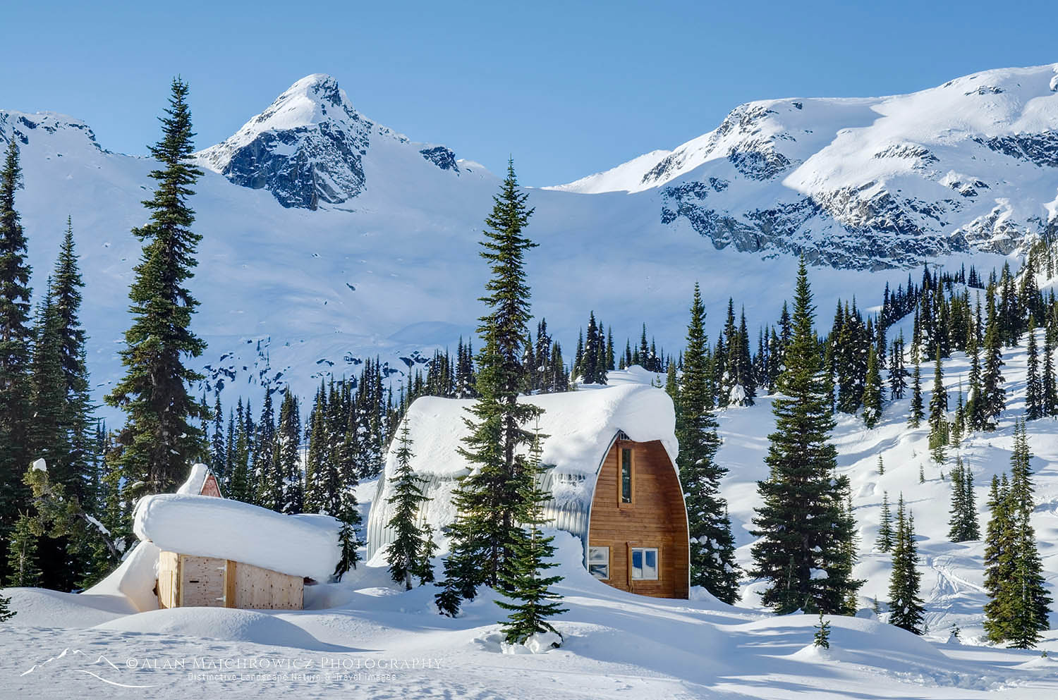 Wendy Thompson Hut in winter Marriott Basin, Coast Mountains British Columbia