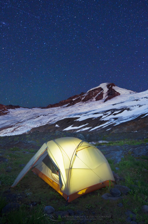 Illuminated tent, Mount Baker North Cascades