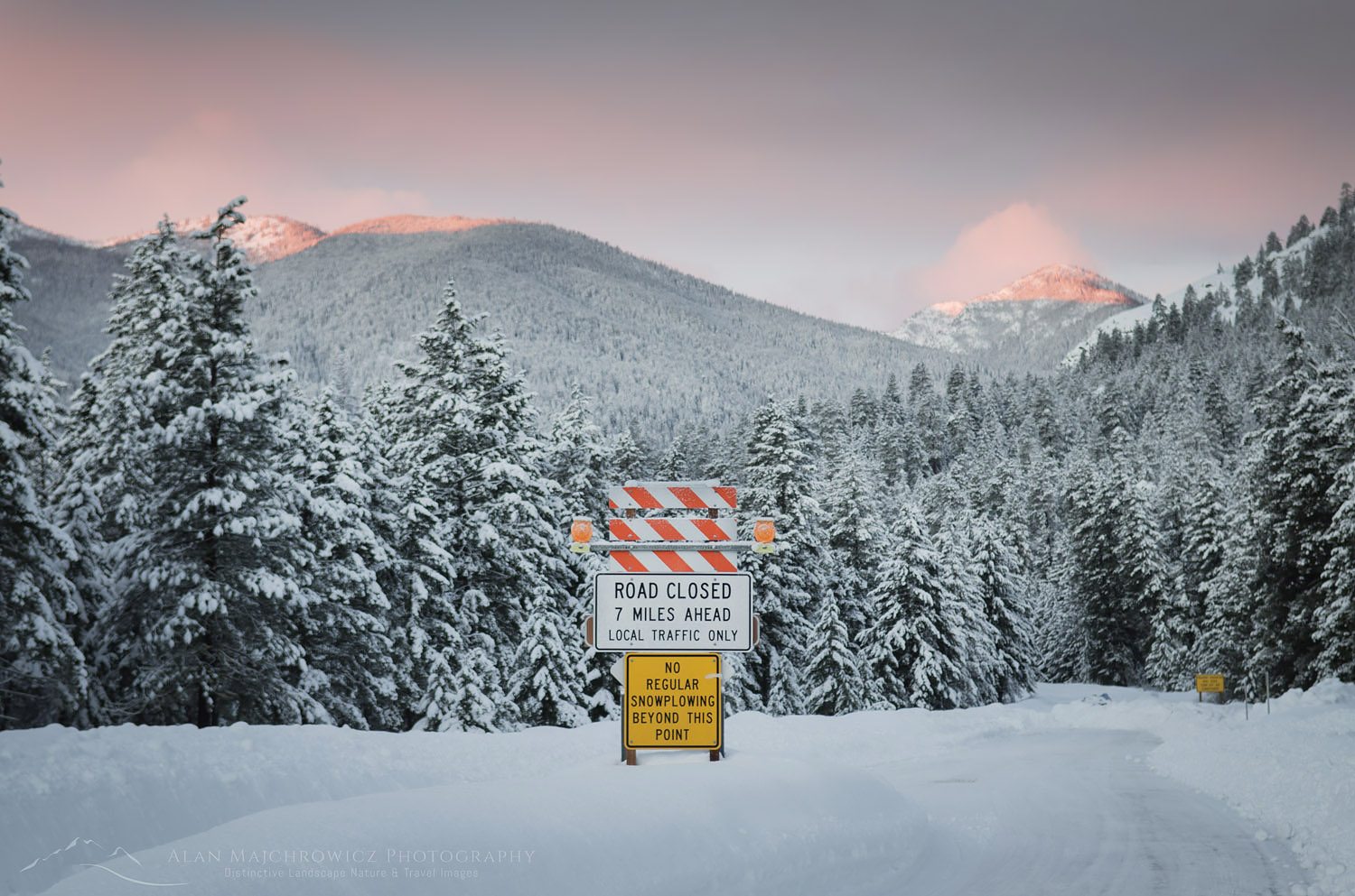 North Cascades Highway winter road closure near Mazama, Washington
