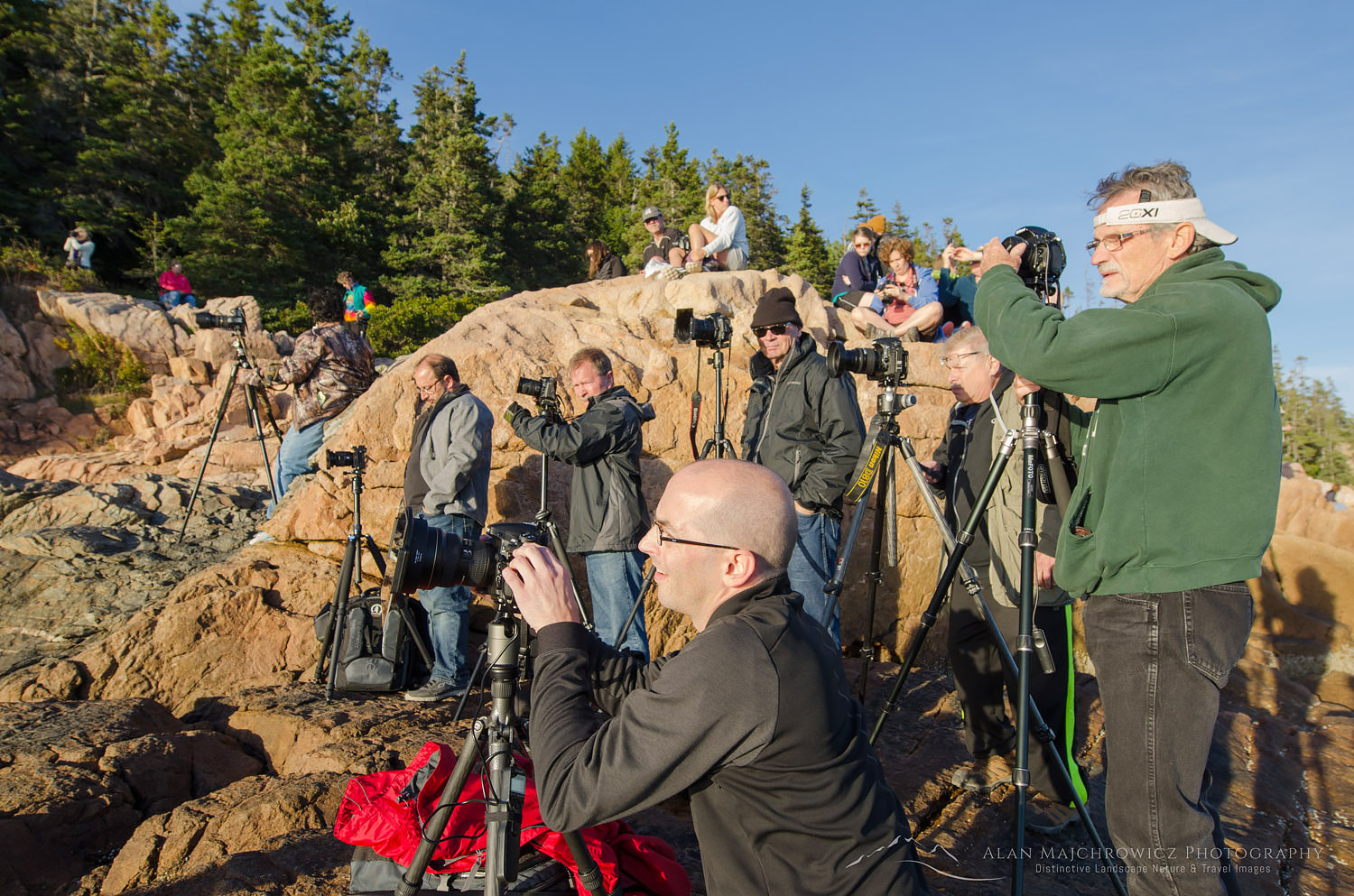 Photographers at Bass Harbor Head Lighthouse Maine