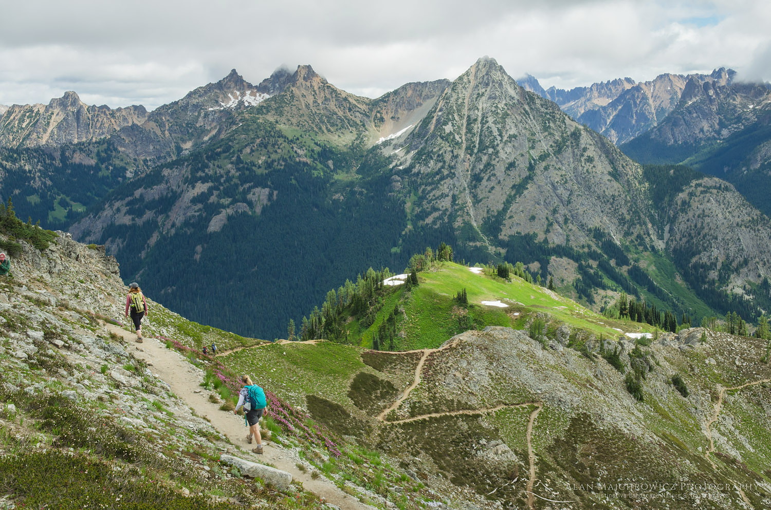 Hikers on trail North Cascades