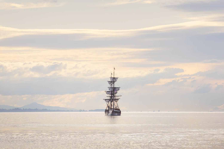 Lady Washington at sail in Semiahmoo Bay, Washington.
