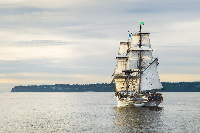 Lady Washington at sail in Semiahmoo Bay, Washington