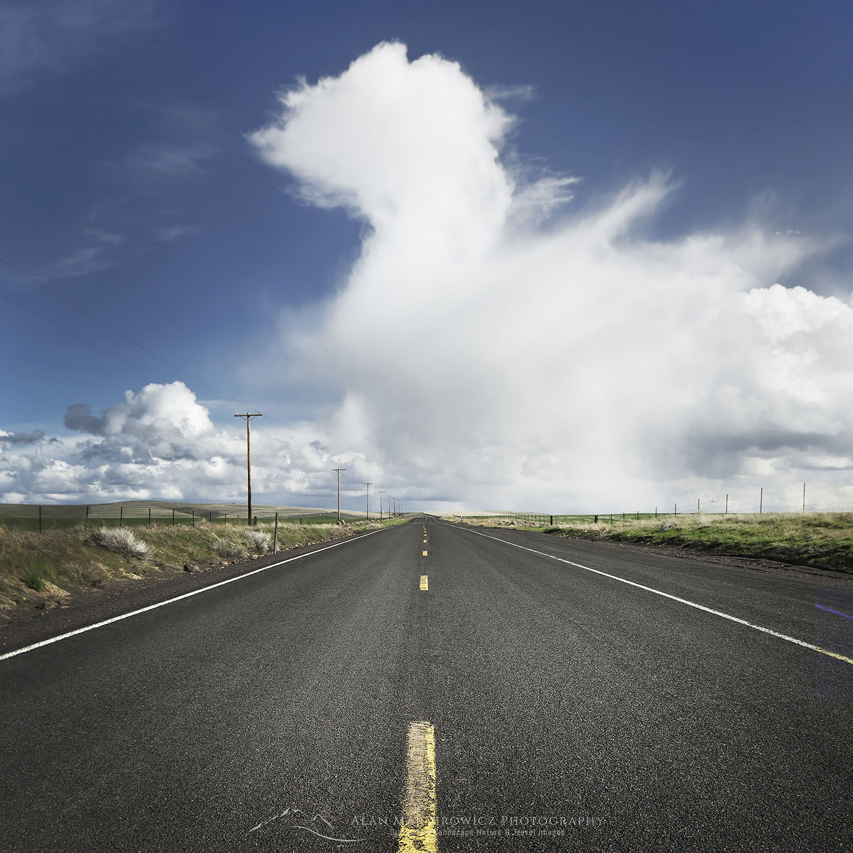 Wind Turbines, two lane highway, Oregon