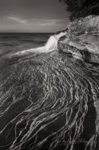 Elliot Falls Pictured Rocks Michigan. BW Photo Highlights 2018