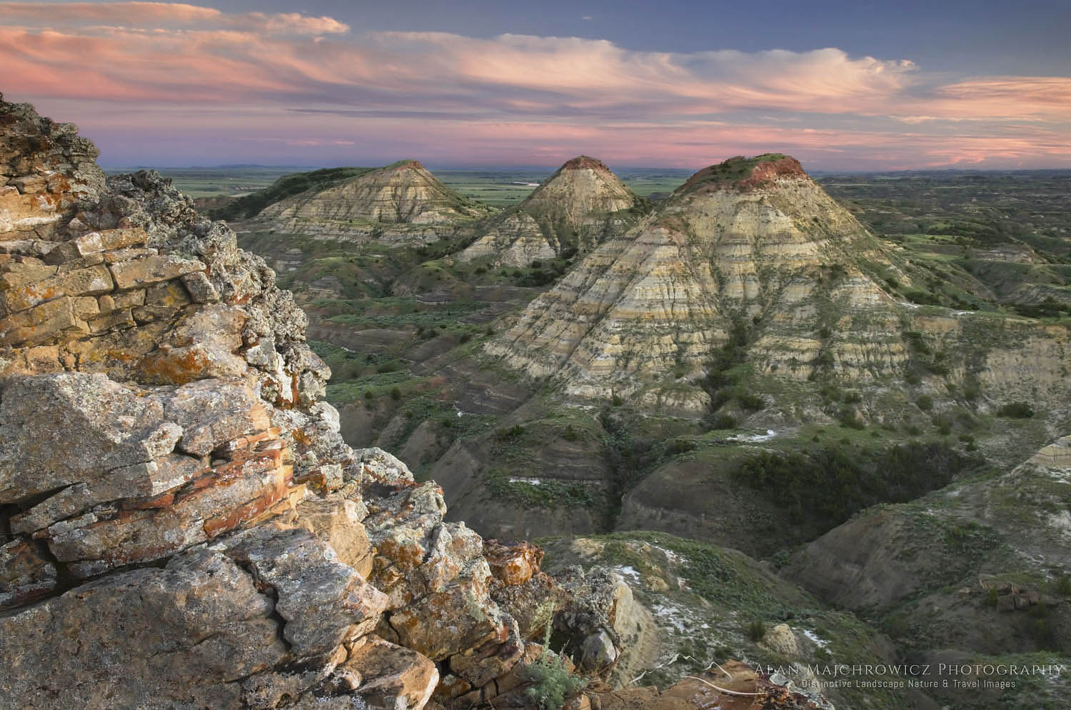 Terry Badlands in Southeast Montana at sunset