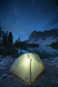 Alice Lake camp Sawtooth Mountains