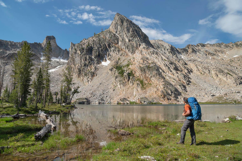 Backpacker Twin Lakes Sawtooth Mountains Idaho