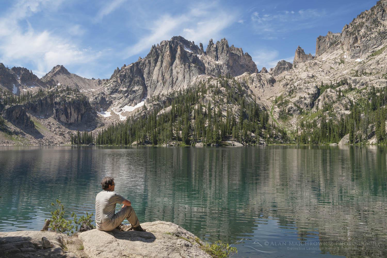Hiker at Baron Lake Sawtooth Mountains Idaho  Baron Lakes Backpacking Photography