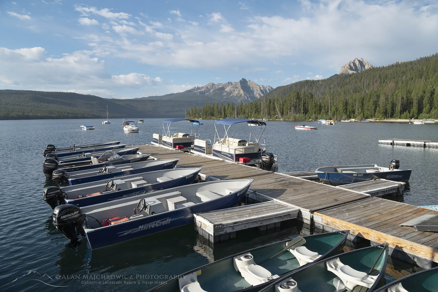 Redfish Lake Lodge boat dock, Redfish Lake Sawtooth Mountains Idaho