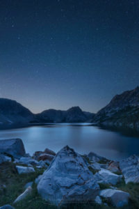 Sawtooth Lake night sky Sawtooth Mountains Idaho