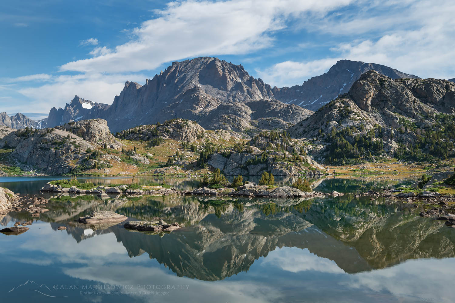 Fremont Peak reflected in Island Lake Wind River Range Wyoming