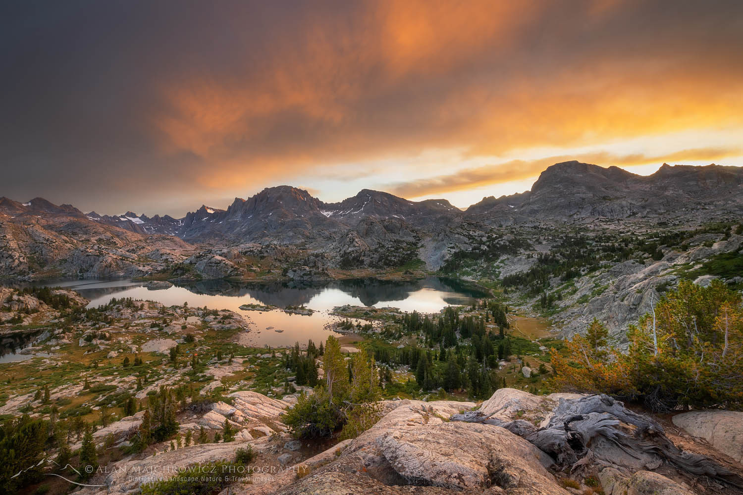 Island Lake sunrise Bridger Wilderness, Wind River Range Wyoming