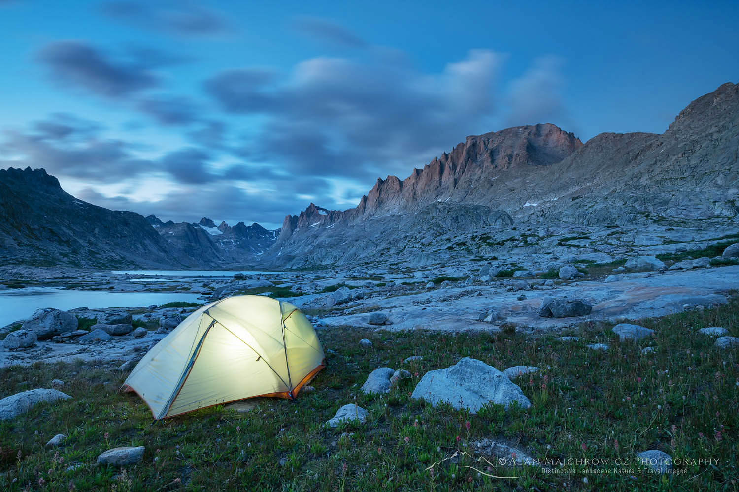 Titcomb Basin backcountry camp Wind River Range Wyoming