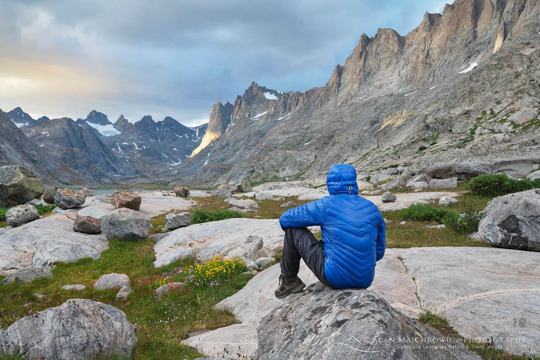 Hiker in Titcomb Basin Wind River Range Wyoming