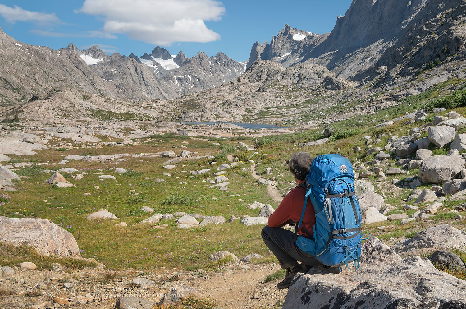 Backpacker on Titcomb Basin Trail Wind River Range Wyoming Backpacking Photography Gear Tips
